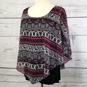 ABStudio Layered Boho/Tapestry Print Poncho Blouse